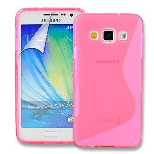 Connect Zone Samsung Galaxy A3 (A300F) S Ligne Silicone Gel Étui + Protection écran Protège Et Chiffon De Polissage - Rose S Ligne Gel, .