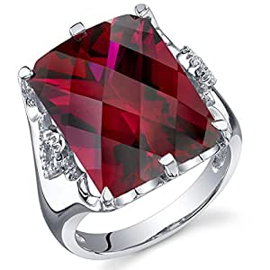 Revoni Royal Marvel 16.00 Carats Radiant Cut Ruby Ring in Sterling Silver size J,