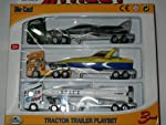 Army,Navy,Air Force Tractor Trailer Vehicles Set in  Die Cast Metal With Plastic Part Accessories       INCLUDES  •     Army Tractor Trailer With Fighter Plane  •Navy Tractor Trailer With Speed Boat •                                                Ai...