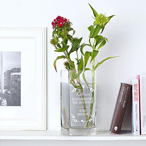 Vase – Blumenvase mit Gravur – Beste Mama der Welt – Personalisiert mit Namen – Individuelle...