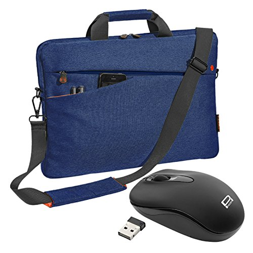 """PEDEA Notebooktasche \""""Fashion\"""" für 17,3 Zoll (43,9cm) mit Zubehörfach, Schultergurt und schnurloser Maus, blau"""