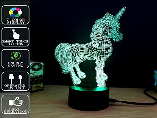3D Touch Nachtlicht, Fipart 7 Farbe 3D Umgebungslicht mit Acryl-Panel und LED-Halter LED Dekoration Smart USB,Und batteriebetrieben,Einhorn