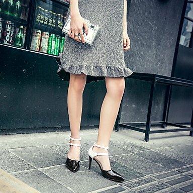 zhENfu Donna Sandali Primavera Estate scarpe Club D'Orsay & in due pezzi, similpelle party di nozze & abito da sera Chunky tacco Stiletto HeelBuckle Red