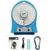 yino 3Geschwindigkeiten Mini USB aufladbare Fan, tragbar Lüfter mit Flash Light für Reisen, Angeln, Camping, Wandern, Rucksackreisen, BBQ, Baby Buggy, Picknick, Radfahren, Bootsfahrten blau