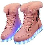 QVRGE Le Luci Di Autunno E Di Inverno Delle Donne LED Illuminano Le Scarpe Da Neve Piatte,Pink-40EU