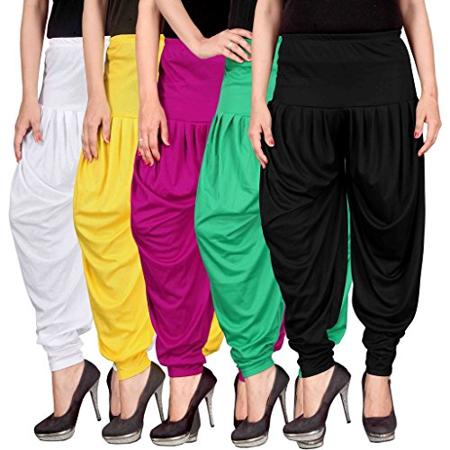 Culture the Dignity Women's Lycra Dhoti Patiala Salwar Harem Pants CTD_00WYM1GB_2-WHITE-YELLOW-MAGENTA-GREEN-BLACK-FREESIZE -Combo...