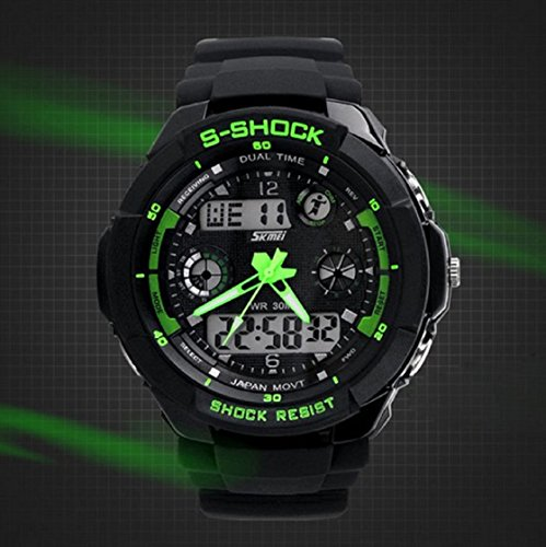 Sannysis Multi Function Military S-Shock LED Wasserdicht Sportuhr Alarm 0931 (Grün) -
