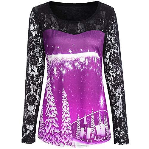 (KUDICO Damen Weihnachten übersteigt T-Shirt Pullover Langarm Spitze Weihnachtsmann Schneeflocke Elk Print Sweatshirt Bluse Shirt(Lila, EU-42/CN-2XL))