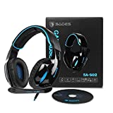Gaming Kopfhörer Sades SA902 Wired Over-Ear-Kopfhörer Dolby 7.1 Surround Sound Stereo High-Fidelity LED mit Mikrofon Gaming headset Für PC/Laptop (Schwarz Blau) -