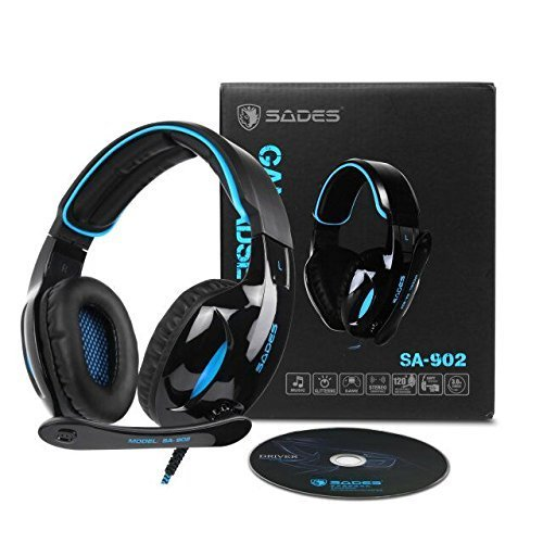 PC PS4 Cuffie Gaming, SADES 902 USB Cuffie da Gioco con Microfono Surround 7.1 Gaming Headset per PC MAC Computer controllo volume luce LED(blu)…