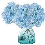 MEIWO Künstliche Blumen, 2 Pcs Real Touch Latex Künstliche Hydrangea Seide Blumen in Vasen für Hochzeit Dekor/Home Dekor/Party/Graves Arrangement(Blau)