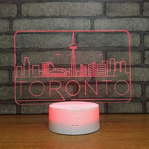 cht Nachttischlampe Für Kinder LED Tischleuchte Dekoratives Licht 7 Farben Andern Touch Switch Acryl USB Crack Basis Stadt ()