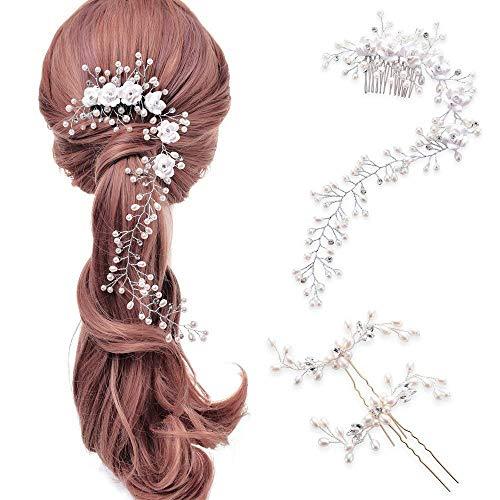 LONGBLE Hochzeit Haarband,Stirnband Perle Girlande Haardraht Haarschmuck Damen 2 Haarspangen + 1 Haarkamm Schmuck Sets mit Blumen Lange Glänzende Haarranke Braut Kopfschmuck Geschenk für Brautjungfer