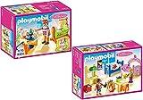 Playmobil Casa de muñecas romántica - Conjunto de muebles: 5304 Habitación del bebé con cuna + 5306 Habitación de los niños