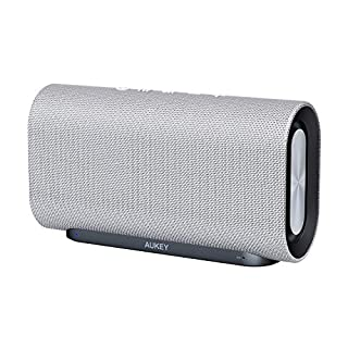 AUKEY Eclipse Bluetooth Speaker 20W with 12 Hours Playtime, Enhanced Bass with Dual Passive Radiators/Subwoofers and Woven Fabric Surface for Echo Dot, Android Phones and More