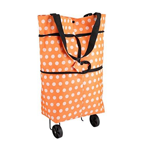 Bolso de compras plegable con las bolsas de la carretilla de las ruedas Bolso de compras plegable Bolso de compras rodante del bolso de la compra(Naranja)