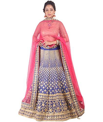 Indian Ethnicwear Bollywood Pakistani Wedding Blue A-Line Lehenga Semi-stitched-DIVISL011