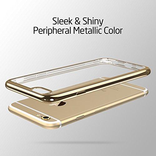 iPhone 6S Plus / 6 Plus Hülle (5,5 Zoll), ESR® Twinkler Series [0.8mm Ultra Dünne] Weiche Silikon Schutzhülle TPU Transparent Zurück mit Überzug Farbig Rahmen Hülle für iPhone 6/6S Plus (Grau) Champagner Gold