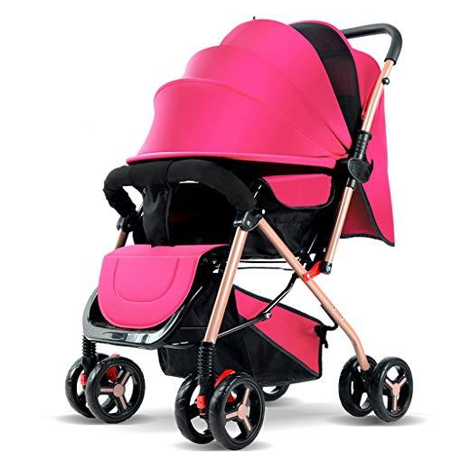 Kinderwagen Wagen Leichter Kinderwagen Kann Das Stützende Bewegliche Faltbare 0-3 Einjahreskind Vierraddämpfen Sitzen Pink