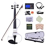 ammoon Violon Ménage Taille totale 4/4 Bois massif Électrique Silencieux Violon Fiddle Style-3 Ebony Fingerboard Pegs Chin Rest Tailpiece avec Bow Hard Case Tuner Casque Rosin Extra Strings and Bridge (blanc)