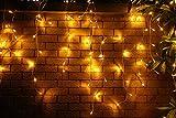 200er LED Eisregen Lichterkette Lichtervorhang Eiszapfen Warmweiß Außen Innen Deko für Garten Party Hochzeit Strombetrieben mit Stecker Gresonic