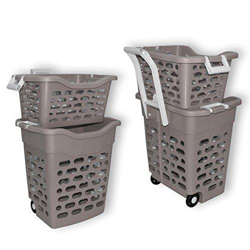 Wäschekorb Wäschesammler Wäschebox Plastik fahrbar graubrau