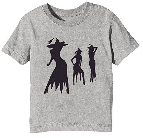 Erido Halloween Mädchen Kinder Unisex Jungen Mädchen T-Shirt Rundhals Grau Kurzarm Größe XL Kids Boys Girls Grey X-Large Size - Beängstigend Halloween Kleines Mädchen