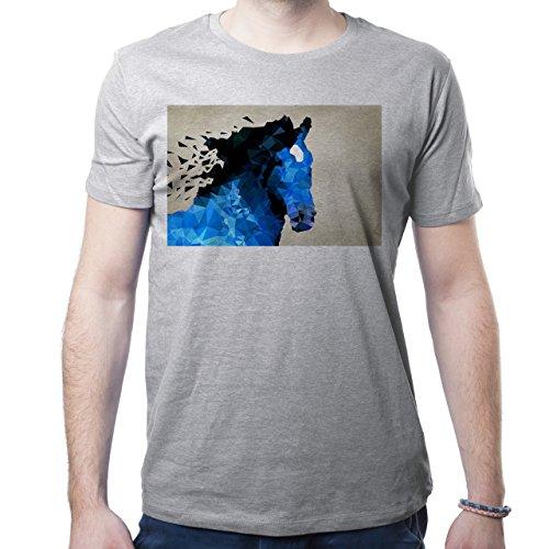 Illuminati Triangle Art Majestic Horse Blue Herren T-Shirt Grau
