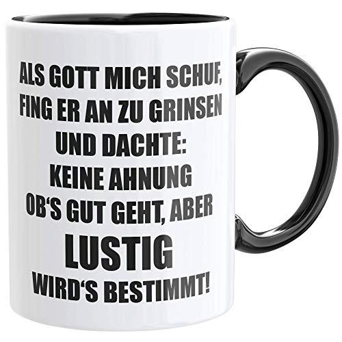 Als Gott Mich Schuf Tasse - lustige Büro Tasse Geschenk für Kollegen inkl. Geschenkkarte