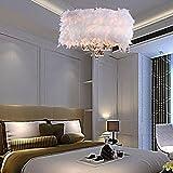 Moderne Elegante Pendelleuchte Design Künstlerisches Gemütliche Hängelampe Federn Dekorativer Kristallen Anhänger Runden Rahmen Ø400mm 3×E27 Höhenverstellbare für Wohnzimmer Schlafzimmer