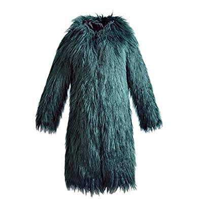 Allouli Women's Winter Elegant Warm Slim Long Faux Fur Coat Outerwear with Hood