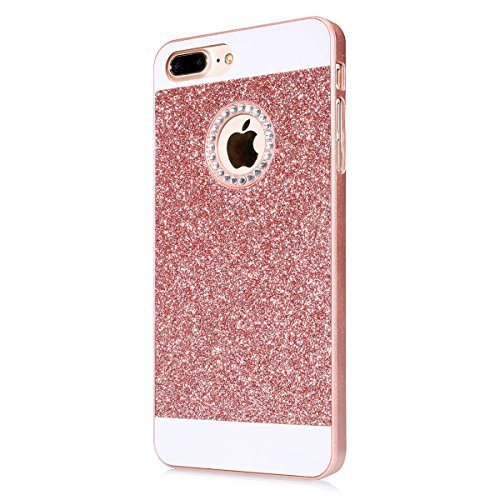 JAWSEU iPhone 7 Coque Liquide Pailletee,iPhone 7S Plastique Etui Transparente Dur Étui Brillant Flash Étoile Love Amour Star Bling Diamant Strass Motif 2017 Neuf Style Liquid Flowing Sables Mouvants P Rose Or/silicone
