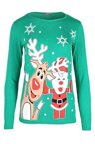 Kinder Weihnachten Rudolph Rentier Vater Santa Schneemann Gesicht Bedruckt Langärmlig Rundhals Kostüm Lustig Pullover Schlitten Schlitten Top Weihnachten T-shirt, Jadegrün, 11-12 Jahre (Kinder Kostüm Rudolph)