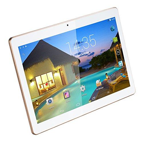 10.1 pollici Tablet PC portatile, Android 5.1 Lollipop, 3G SIM doppio schermo IPS 1280x800 sbloccato Smartphone Compresse PC, 1GB, 16GB di memoria, Wi-Fi Quad Core Computer, anteriore da 2 megapixel e fotocamera da 5 megapixel posteriore 5000mAh Bianca