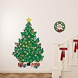 Wallflexi Natale Decorazioni murali adesivi da muro 'tradizionale albero di Natale con lettere dell' alfabeto decalcomanie soggiorno bambini scuola materna ristorante hotel Home Office Décor, multicolore