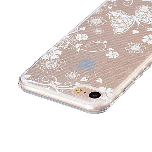 JAWAEU Coque Etui pour iPhone 7 Transparent,iPhone 7 Coque en Silicone,iPhone 7 Tpu Cover Souple Transparent Housse Etui Ultra Mince Cristal Clair Caoutchouc Bumper Housse Etui de Protection Flexible  Papillon blanc