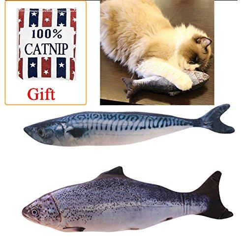 2 Pack Katzenminze Fisch Spielzeug,Besttanx 7,9 Zoll lange Simulation Plusch interaktive Kissen...