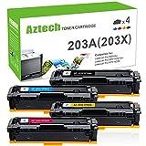 Aztech 4 Pack Kompatibel für HP 203X CF540X-CF543X 203A CF540A HP203A HP203X Toner für HP Color Laserjet Pro M281fdw MFP M281 fdw M281fdn M280nw M280 M254dw M254nw M254 Farblaserdrucker