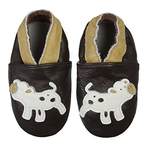 Verschiedenen Mit Krabbelschuhe Kuh Lauflernschuhe Leder Premium Motiven Braun Babyschuhe Smilebaby gqYax4