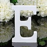 Freeas Décoratif Bois Lettres, 26 Alphabet Blanc Lettres en Bois pour Déco Nom des Enfants Fête d'anniversaire de Mariage Décoration de Maison et de Chambre à Coucher (E)