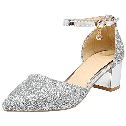 Atyche Damen Riemchen D'Orsay Sandalen mit Schnalle und Glitzer Spitze Blockabsatz Pumps Bequem Schuhe