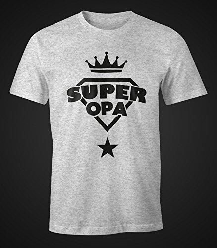 Herren T-Shirt - Super Opa Geburtstag Geschenk - Moonworks Grau