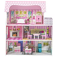 MAYOGA Large Wooden Dollhouse Kit, Majestic Chalet Cottage with Furniture and Accessories, 3 Storey Country Estate Miniature Toy for Little Girls, Pink
