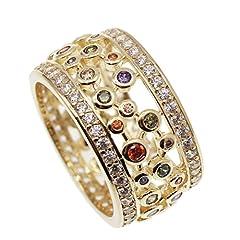Idea Regalo - JINTOP Anello di nozze in oro giallo 24K, gemma di granato con peridoto, topazio, ametista, Morganite, regali per le ragazze, taglia US 7# 8# 9#