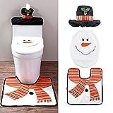 Uten Weihnachten Toilettensitzbezug Weihnachtsdeko WC-Sitze Set mit Sitzbezug & Teppich & Gewebe Deckel für Badezimmer im Schneemann-Design