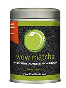 WowMatcha Japanese Ceremonial Grade Hand Ground Matcha Powder, 100g