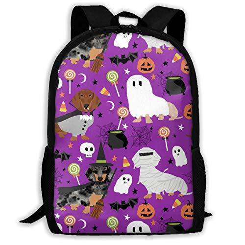 Halloween-Rucksack mit Dackel-Motiv, für Halloween, gruseliger Geisterstoff, Lil_737, für Reisen, Laptop, Rucksack, extra groß, für Schule und Studenten, klassischer Rucksack