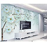 Mural 3D Non-Woven Wallpaper Embossed Jewels Flowers Modern Minimalist Tv Background Wall 300Cm × 200Cm