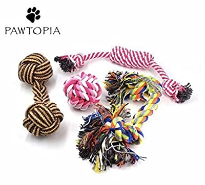 Puppy Dog Ball Rope Chew Toy Teething Set Mini Dental 4 Pack for Small To Medium Dogs And Puppies from Pawtopia , 4 pack dog toys,fun toys for dogs of all sizes .Quality dog toy offers