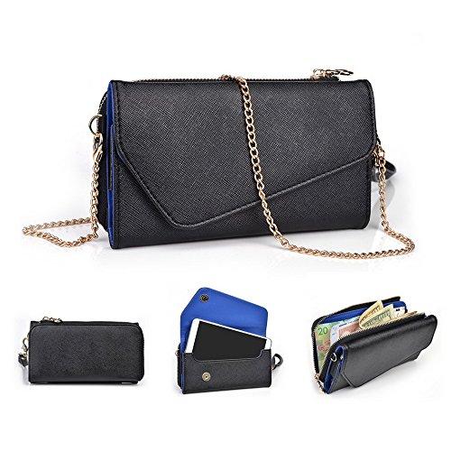 Kroo d'embrayage portefeuille avec dragonne et sangle bandoulière pour Samsung Galaxy S5Active Noir/gris Black and Blue